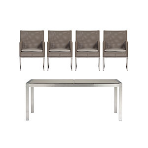 Dune Pebbled Glass 5-Piece Dining Set