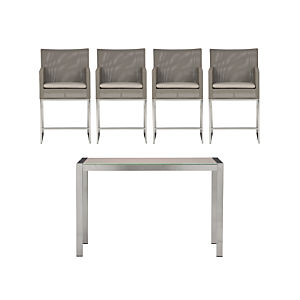 Dune Painted Glass 5-Piece High Dining Set