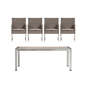 Dune Painted Glass 5-Piece Dining Set