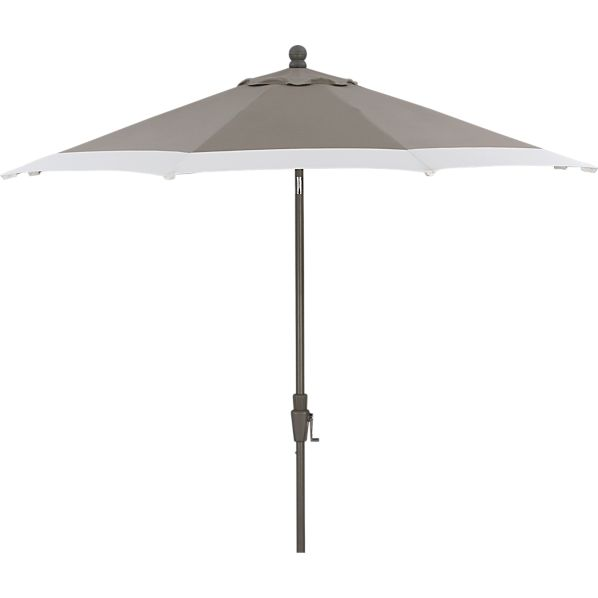 9' Round Sunbrella® Taupe Banded Umbrella with Charcoal Frame