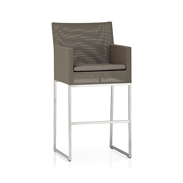 "Dune 30"" Bar Stool with Sunbrella ® Taupe Cushion"