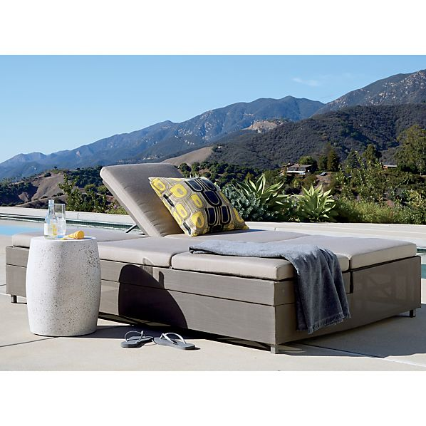 Dune Double Chaise Sofa Lounge with Sunbrella ® Taupe Cushions