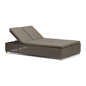Dune Double Chaise Sofa Lounge with Sunbrella Taupe Cushions