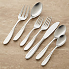 Dune 22-Piece Flatware Set: four 5-piece place settings (salad fork, dinner fork, knife, soup spoon and teaspoon), serving fork and serving spoon.