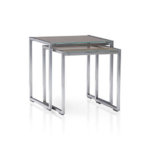 Dune Nesting Tables with Painted Glass Set of Two