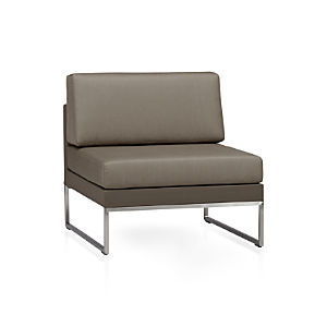 Dune Sectional Armless Chair with Sunbrella® Taupe Cushions