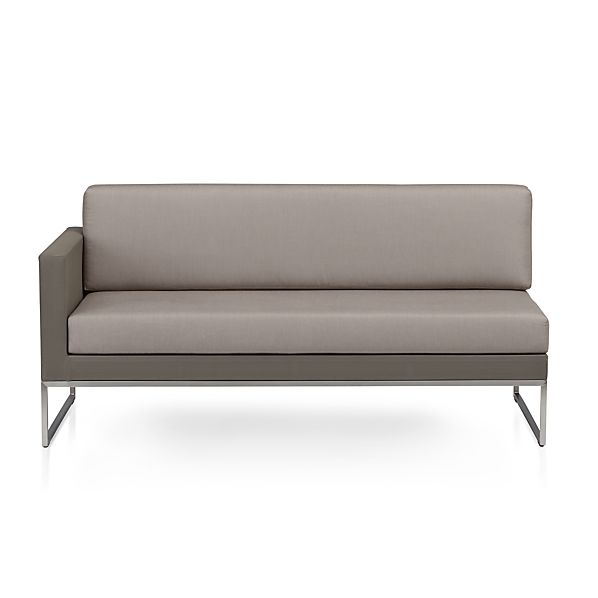 Dune Left Arm Loveseat with Sunbrella ® Taupe Cushions