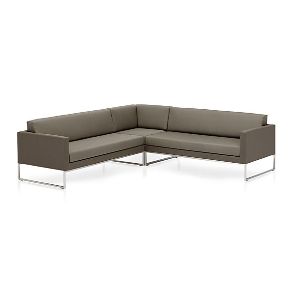 Dune 3-Piece Sectional Sofa with Sunbrella ® Taupe Cushions