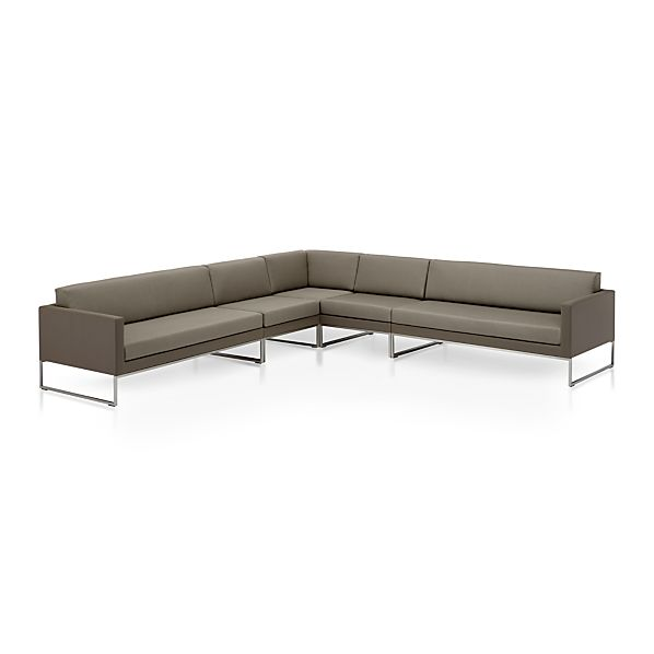 Dune 5 Piece Sectional Sofa with Cushions Taupe