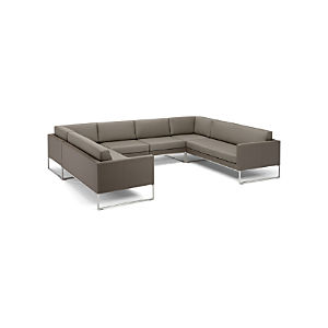 Dune 6-Piece Sectional Sofa with Sunbrella ® Taupe Cushions