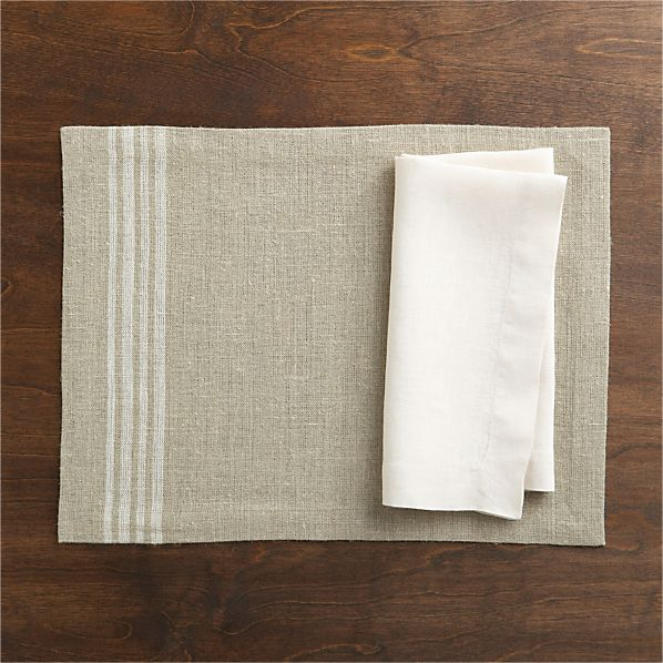Easton White Stripe Placemat and Helena Natural Linen Napkin