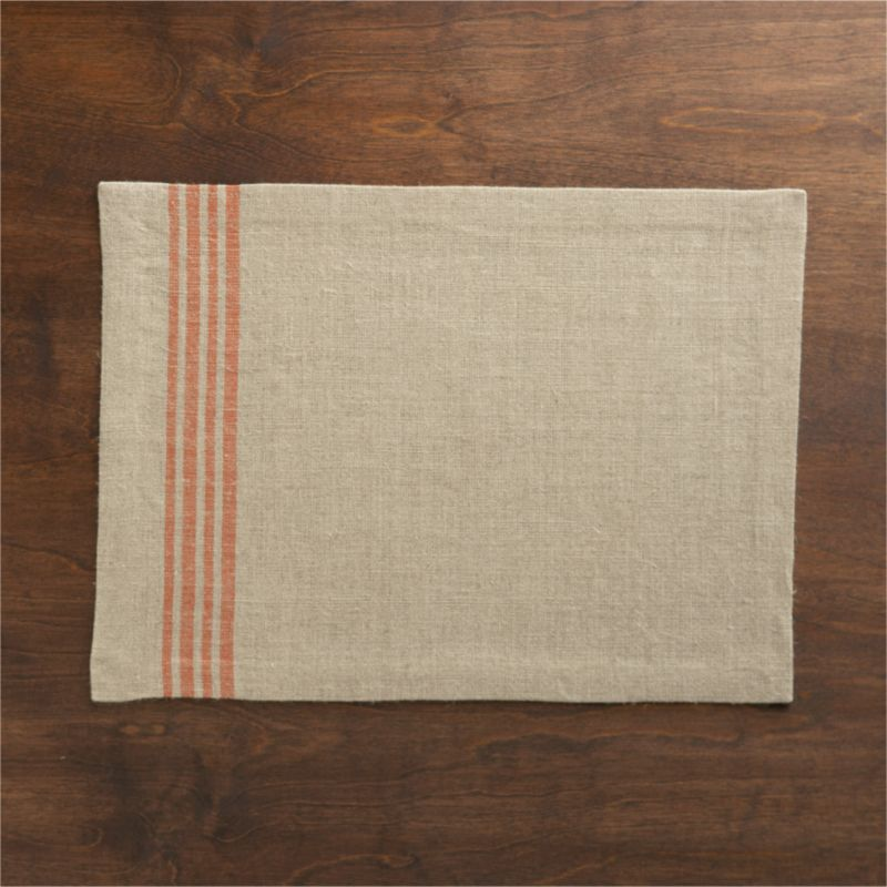 Off-center quartet of casual orange stripes sets off the textural appeal of 100% natural linen.<br /><br /><NEWTAG/><ul><li>100% linen</li><li>Machine wash cold, dry flat; warm iron as needed</li><li>Made in India</li></ul>