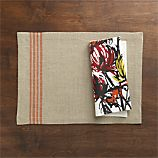 Easton Orange Stripe Placemat and Mum's the Word Napkin