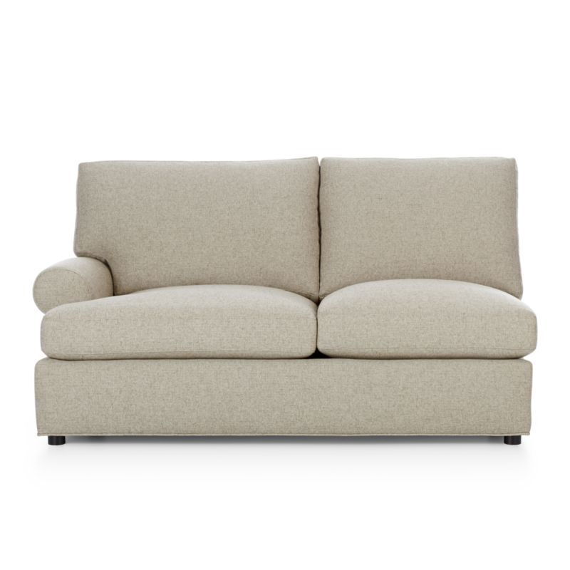 Traditional roll-arm sofa takes a relaxed turn, rolling arms wide and plumping the welcoming frame with indulgently soft seat and back cushions. Family-friendly poly-acrylic upholstery weaves tweedy for a cozy, textured and durable covering. Understated recessed block legs provide subtle support.<br /><br />After you place your order, we will send a fabric swatch via next day air for your final approval. We will contact you to verify both your receipt and approval of the fabric swatch before finalizing your order.<br /><br /><NEWTAG/><ul><li>Certified kiln-dried engineered hardwood</li><li>Upholstery is 52% polyester and 48% acrylic</li><li>French seam welting</li><li>Seat cushions are soy-based polyfoam with feather-down blend in downproof ticking</li><li>Back