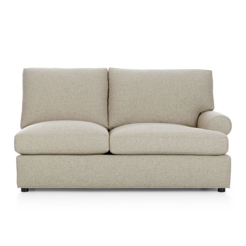 Traditional roll-arm sofa takes a relaxed turn, rolling arms wide and plumping the welcoming frame with indulgently soft seat and back cushions. Family-friendly poly-acrylic upholstery weaves tweedy for a cozy, textured and durable covering. Understated recessed block legs provide subtle support.<br /><br />After you place your order, we will send a fabric swatch via next day air for your final approval. We will contact you to verify both your receipt and approval of the fabric swatch before finalizing your order.<br /><br /><NEWTAG/><ul><li>Certified kiln-dried engineered hardwood</li><li>Upholstery is 52% polyester and 48% acrylic</li><li>French seam welting</li><li>Seat cushions are soy-based polyfoam with feather-down blend in downproof ticking</li><li>Back cushions are feather-down blend in downproof ticking</li><li>Sinuous wire suspension</li><li>Plastic legs with brown finish</li><li>Made in North Carolina, USA</li></ul><br />