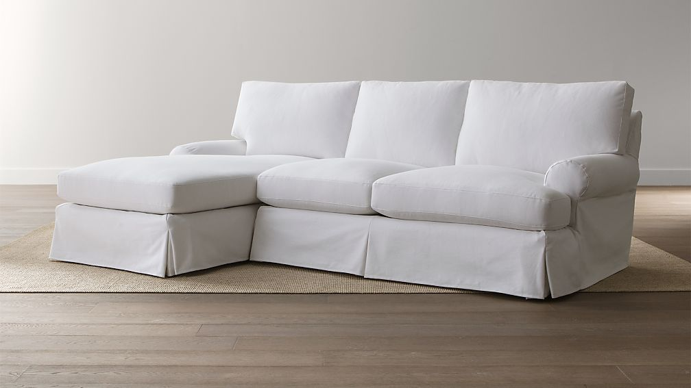Ellyson Slipcovered 2-Piece Sectional - Optic White : Crate and Barrel