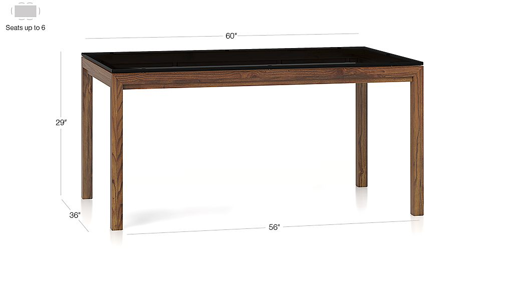 Grey glass top elm base 60x36 dining table in dining for Glass top dining table 36 x 60