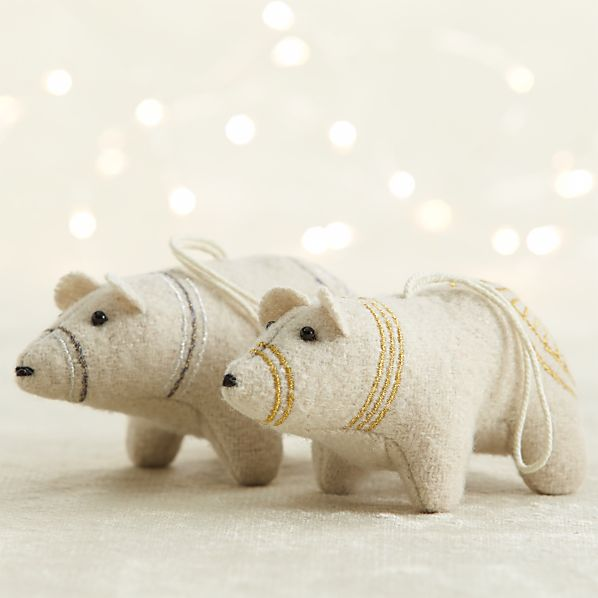 Embroidered Felt Polar Bear Ornaments