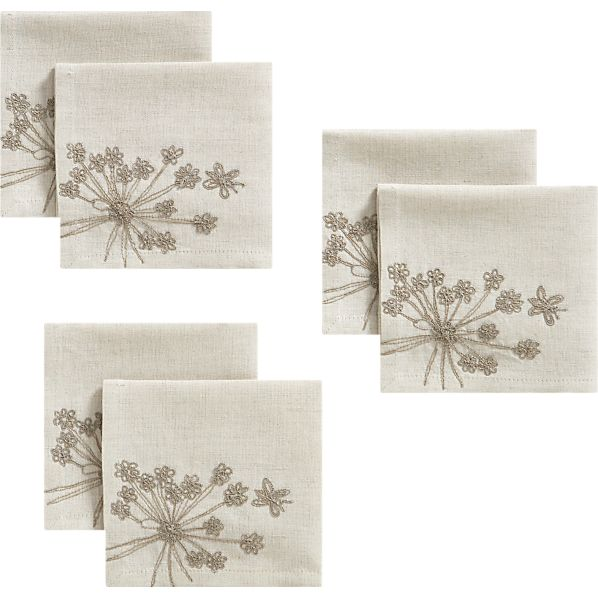 Set of 6 Embroidered Sprig Cocktail Napkins