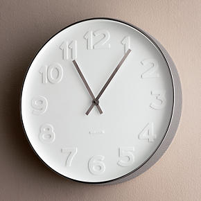 Embossed Numbers 15 Wall Clock