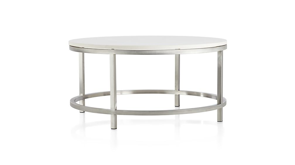 Era limestone round coffee table in coffee tables side for Cocktail tables crate and barrel