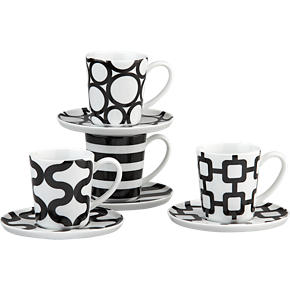 Graphic Espresso Cups and Saucers Set of Four