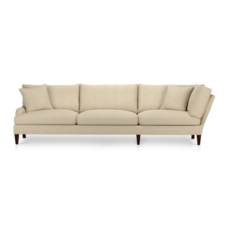 A most proper English-style sofa influences and a most unstuffy, unexpected living room manner. The experience is as sink-in-comfortable as it looks with deep cushions tailor-finished in a slubby linen blend with top-stitch detailing. Elegantly tapered front legs with black walnut stain.<br /><br />After you place your order, we will send a fabric swatch via next day air for your final approval. We will contact you to verify both your receipt and approval of the fabric swatch before finalizing your order.<br /><br /><NEWTAG/><ul><li>Eco-friendly construction</li><li>Certified sustainable, kiln-dried hardwood frame</li><li>Seat cushions are multilayer soy-based foam surrounded by a down-fiber blend encased in downproof ticking</li><li>Back cushions are filled with a down-fiber blend encased in downproof ticking</li><li>Sinuous wire spring suspension</li><li>55% linen, 45% cotton with top-stitch detail</li><li>Hardwood legs with black walnut finish</li><li>Benchmade</li><li>See additional frame options below</li><li>Made in North Carolina, USA</li></ul>