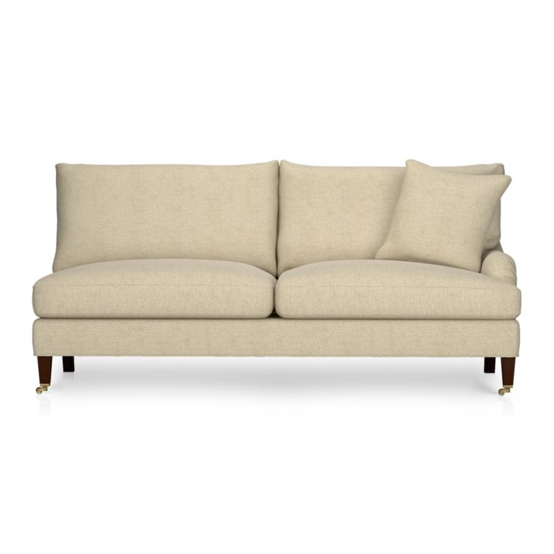 A most proper English-style sofa influences and a most unstuffy, unexpected living room manner. The experience is as sink-in-comfortable as it looks with deep cushions tailor-finished in a slubby linen blend with top-stitch detailing. Elegantly tapered front legs with black walnut stain.<br /><br />After you place your order, we will send a fabric swatch via next day air for your final approval. We will contact you to verify both your receipt and approval of the fabric swatch before finalizing your order.<br /><br /><NEWTAG/><ul><li>Eco-friendly construction</li><li>Certified sustainable, kiln-dried hardwood frame</li><li>Seat cushions are multilayer soy-based foam surrounded by a down-fiber blend encased in downproof ticking</li><li>Back cushions are filled with a down-fiber blend encased in downproof ticking</li><li>Sinuous wire spring suspension</li><li>55% linen, 45% cotton with top-stitch detail</li><li>Hardwood legs with black walnut finish</li><li>Antiqued brass casters</li><li>Benchmade</li><li>See additional frame options below</li><li>Made in North Carolina, USA</li></ul>