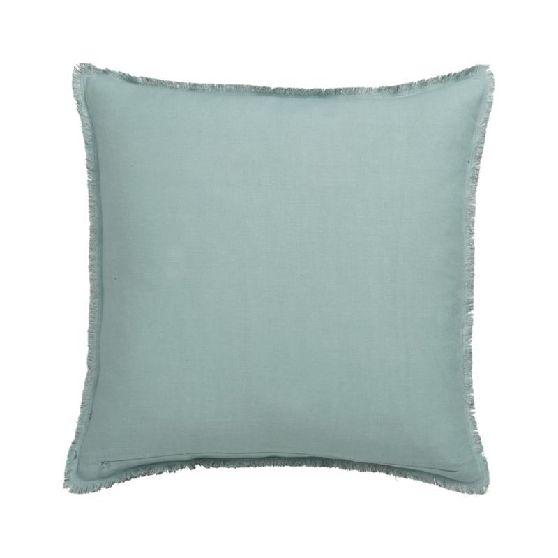 "Eyelash Lake and Grey 20"" Pillow with Feather-Down Insert"