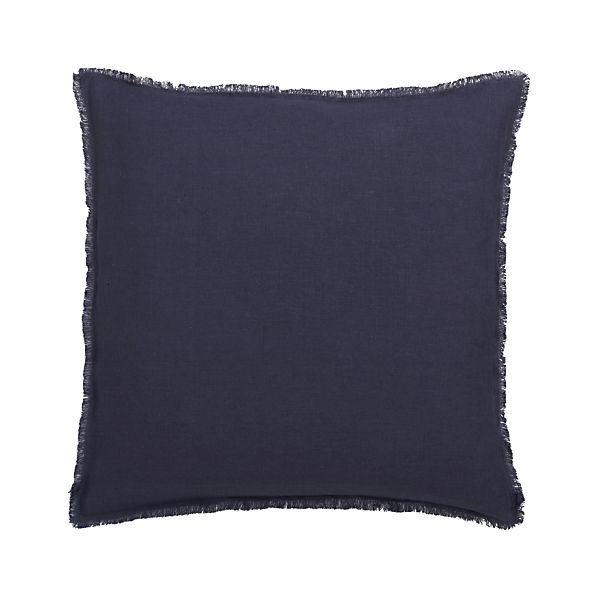 "Eyelash Navy 20"" Pillow with Feather-Down Insert"