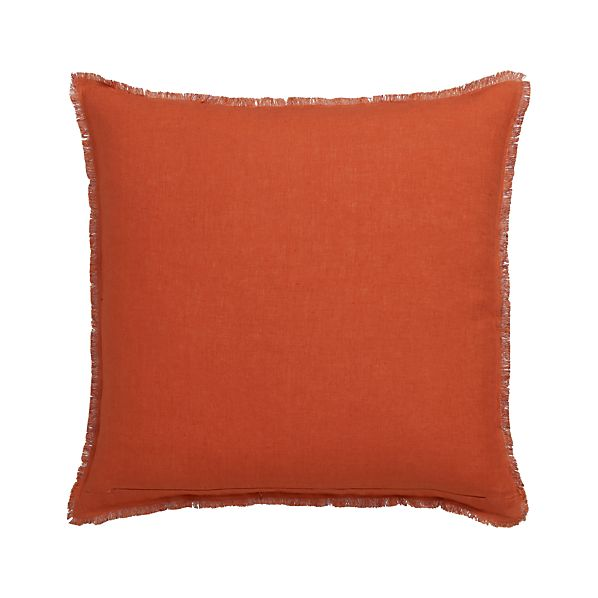 "Eyelash Orange and Wine 20"" Pillow with Feather Insert"