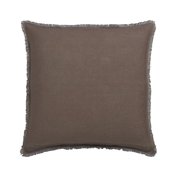 "Eyelash Taupe and Blue 20"" Pillow with Feather-Down Insert"