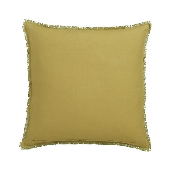 "Eyelash Yellow and Teal 20"" Pillow with Feather-Down Insert"