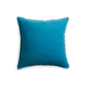 "Eyelash Blue and Grey 20"" Pillow  with Feather Insert"