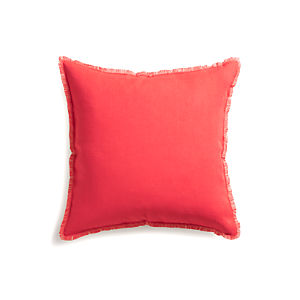 "Eyelash Coral and Natural 20"" Pillow with Down-Alternative Insert"