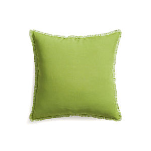 "Eyelash Green and White 20"" Pillow with Down-Alternative Insert."