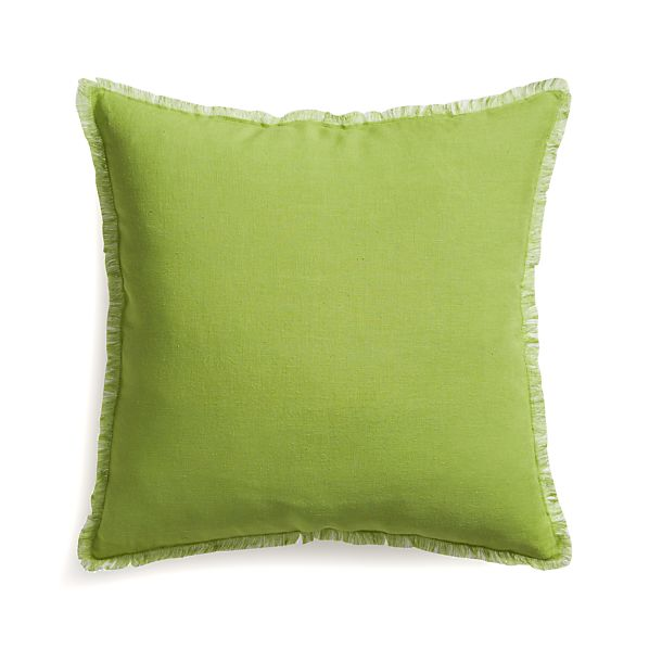 "Eyelash Green and White 20"" Pillow with Feather Insert"
