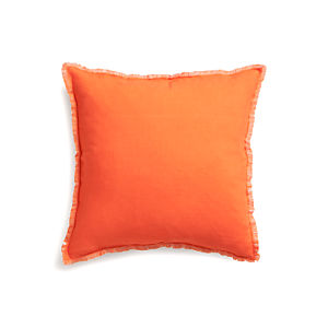 Eyelash Orange and Grey Pillow with Feather Insert