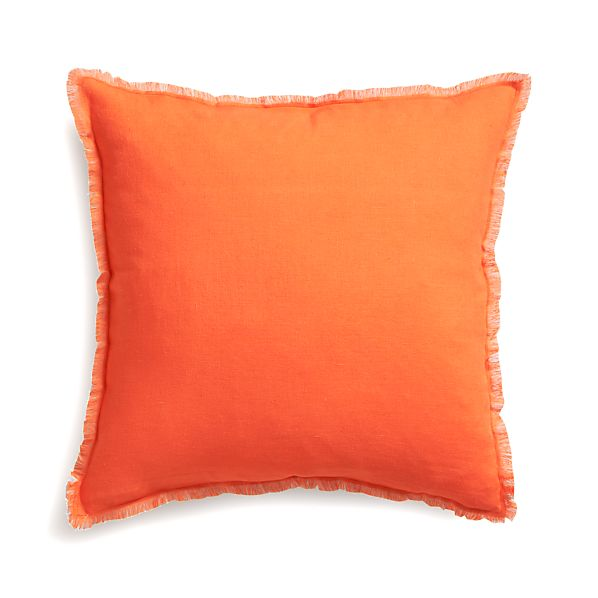 "Eyelash Orange and Grey 20"" Pillow with Down-Alternative Insert"