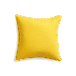 "Eyelash Yellow and White 20"" Pillow with Feather Insert"