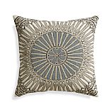 "Fabian Grey 20"" Pillow with Feather-Down Insert"