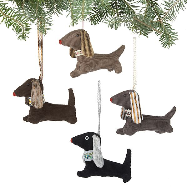 Set of 4 Fabric Dog Ornaments