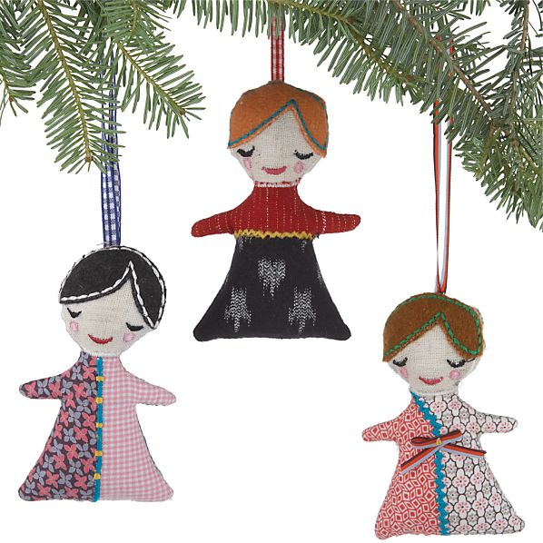 Set of 3 Fabric Girls in Dresses Ornaments