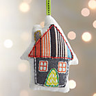 Fabric House with Striped Roof Ornament.