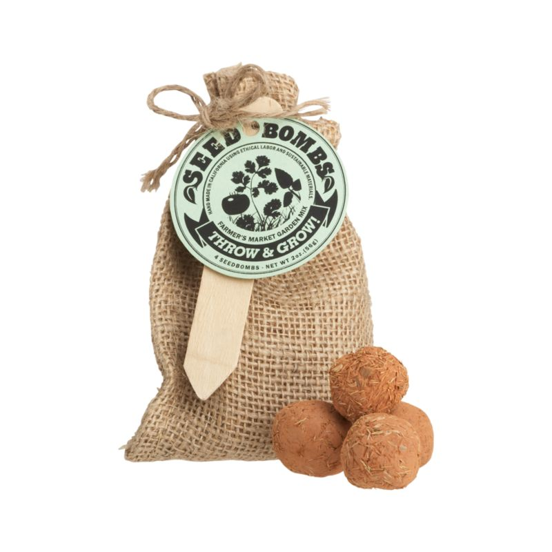 Launch these fun seed balls wherever the landscape needs an eco-friendly hit of color. Clay balls are loaded with hearty and easy-to-grow seeds. Just drench with water and bury partially in soil for a crop of tomatoes, coriander and basil. Great for beautifying small gardens or vacant lots. Seed bombs are packed four to a burlap bag, the perfect gift for a garden party.<br /><br /><NEWTAG/><ul><li>Handcrafted</li><li>4 seed bombs: seed, clay and soil conditioner</li><li>Packaged in burlap bag</li><li>Made in USA</li></ul>