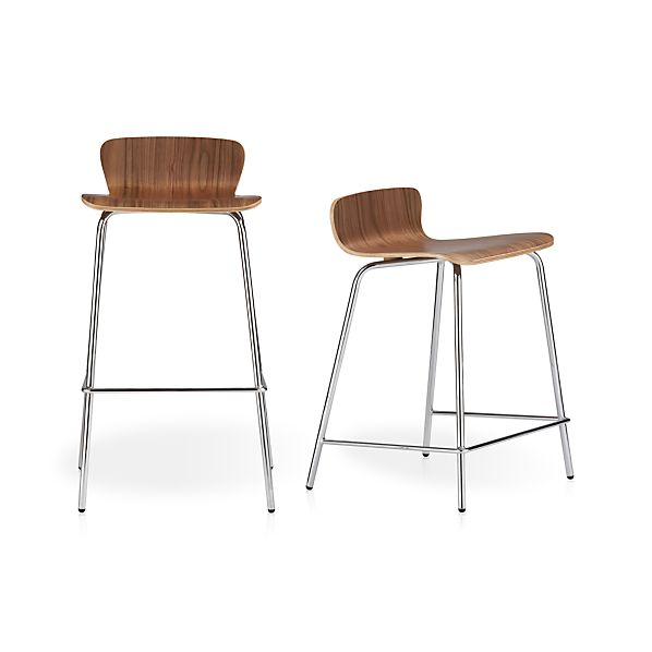 Felix Walnut Bar Stools Crate And Barrel