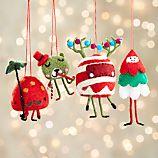 Set of 4 Felt Candy Creatures Ornaments
