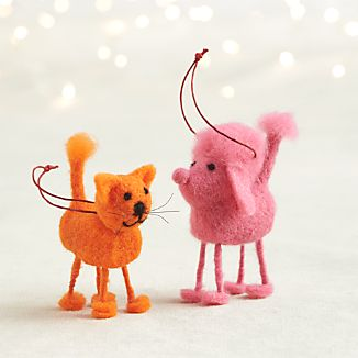 Felt Cat and Poodle Ornaments
