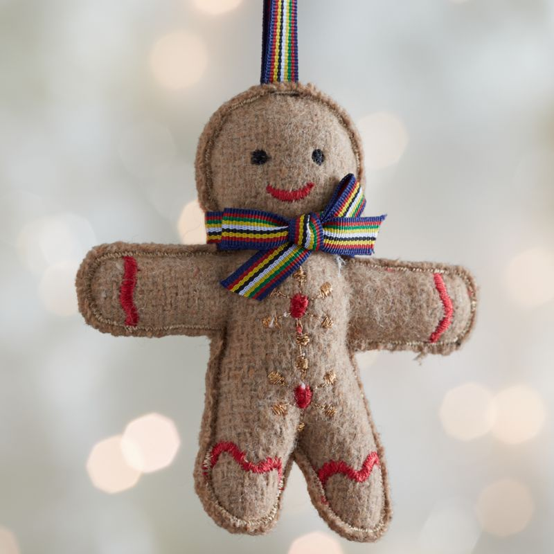 Felt Gingerman with Blue Tie Ornament
