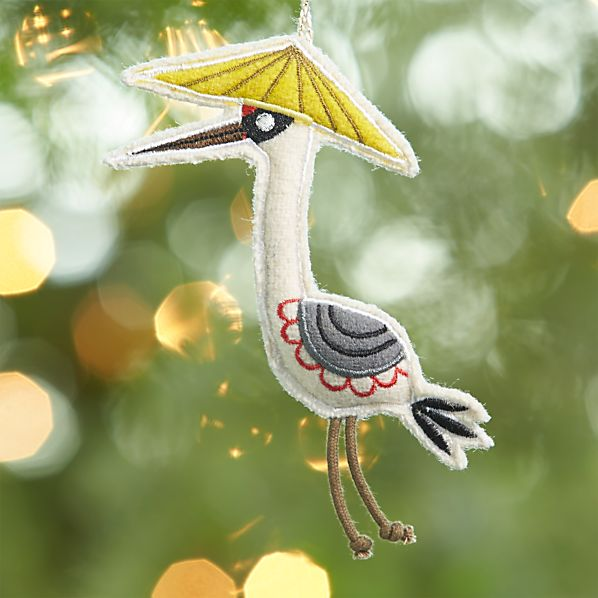 Felt Bird Ornament Wearing Yellow Sun Hat